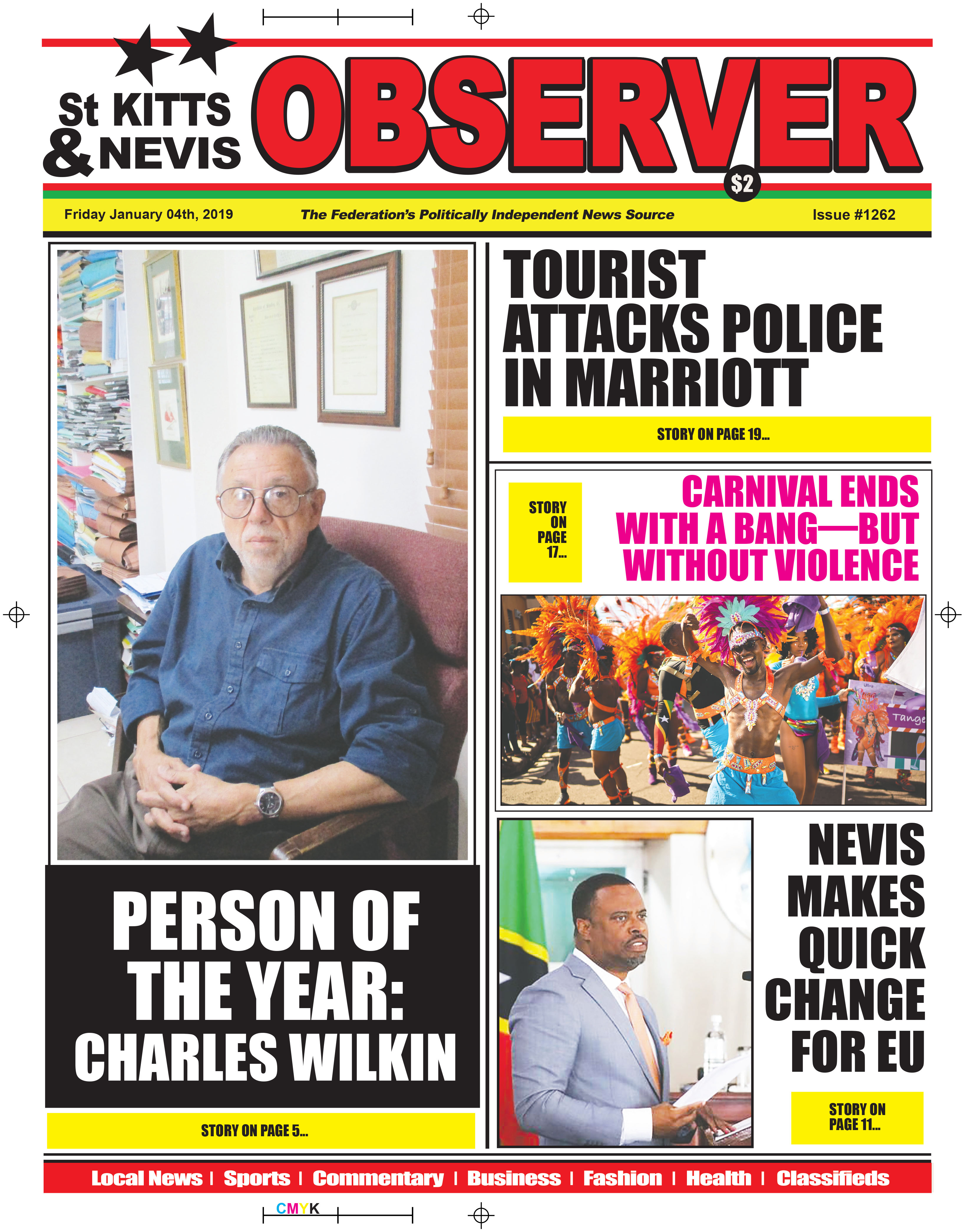 Newspaper Cover for 04th January 2019  The St Kitts Nevis Observer