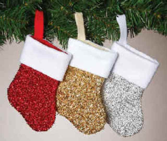 Metallic Mini Christmas Stockings In Gold Silver Red