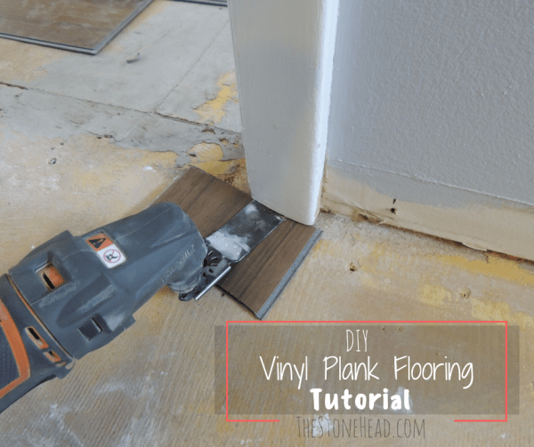Vinyl plank flooring tutorial no nails no glue the stone head diy vinyl plank flooring tutorial cut the trim solutioingenieria Image collections