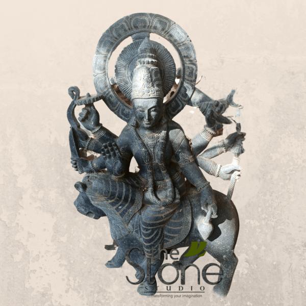 Durga Maa sitting on Tiger in Black Stone
