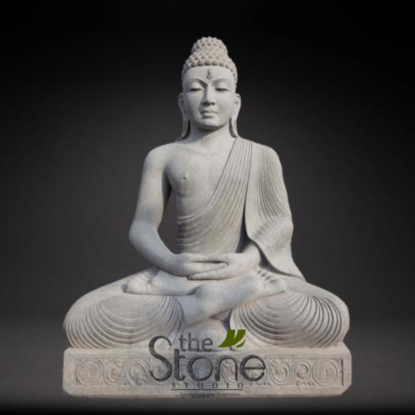 Black Stone Buddha Statue in Sitting Position