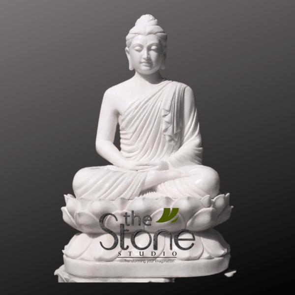 Marble Buddha Statue Sitting on Lotus