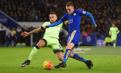 Jamie Vardy of Leicester City is challenged by Nicolas Otamendi of Manchester City as he shoots during the Barclays Premier League match between Leicester City and Manchester City at The King Power Stadium on December 29, 2015 in Leicester, England.