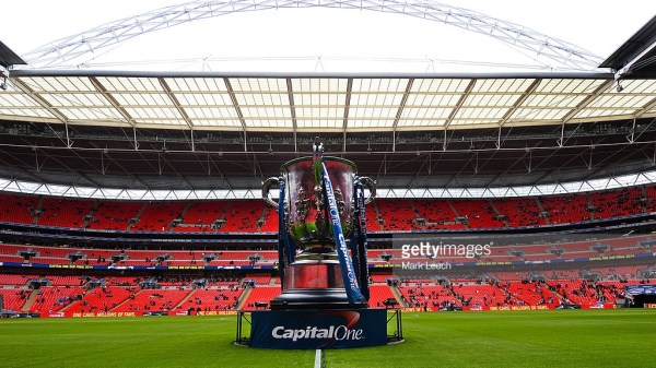 A giant league cup trophy placed on the Wembley pitch during the Capital One Cup Final between Sunderland and Manchester City at Wembley Stadium on March 2, 2014 in London, England.