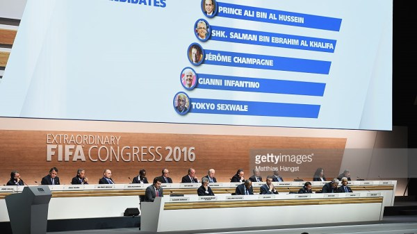 The FIFA Presidential candidates are displayed on screen during the Extraordinary FIFA Congress at Hallenstadion on February 26, 2016 in Zurich, Switzerland.