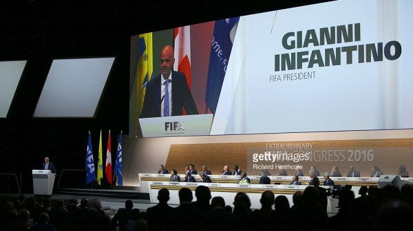 Gianni Infantino talks after being elected as the new FIFA President during the Extraordinary FIFA Congress at Hallenstadion on February 26, 2016 in Zurich, Switzerland.