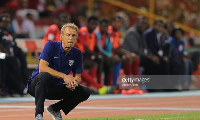USA's national team coach Juergen Klinsmann studies the play during a World Cup Qualifier between Trinidad and Tobago and USA as part of the FIFA World Cup Qualifiers for Russia 2018 at Hasely Crawford Stadium on November 17, 2015 in Port of Spain, Trinidad & Tobago.