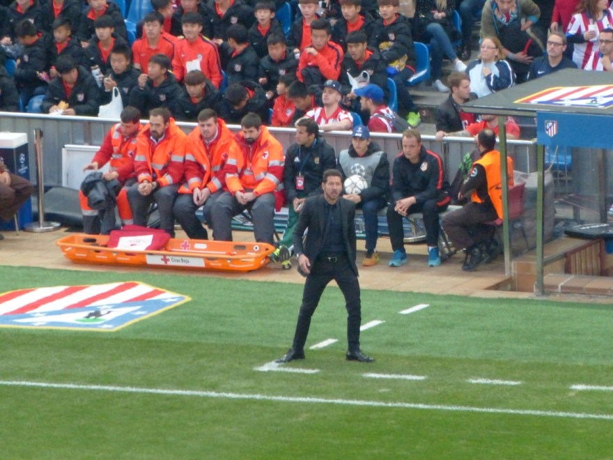Diego Simeone watches from the sidelines during the Champions League match between Atletico Madrid and Bayern Munich, April 28, 2016. Photo by Sierra Godfrey for The Stoppage Time.