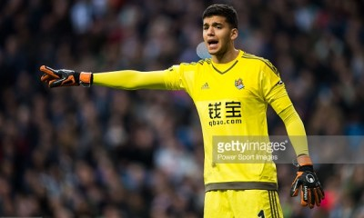 MADRID, SPAIN - DECEMBER 30: Geronimo Rulli of Real Sociedad reacts during the Real Madrid CF vs Real Sociedad as part of the Liga BBVA 2015-2016 at Estadio Santiago Bernabeu on December 30, 2015 in Madrid, Spain. (Photo by Aitor Alcalde/Power Sport Images/Getty Images)
