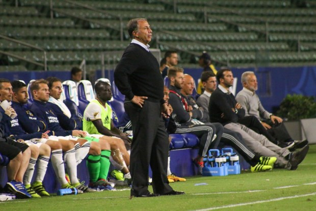 Bruce Arena looks on during LA Galaxy's 2-1 loss to FC Dallas in the U.S. Open Cup semifinals