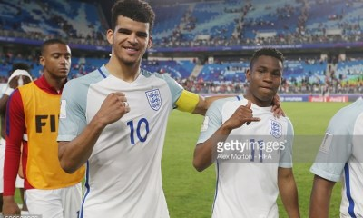 SUWON, SOUTH KOREA - MAY 26: Dominic Solanke and Ademola Lookman of England celebrate at the final whistle during the FIFA U-20 World Cup Korea Republic 2017 group A match between England and Korea Republic at Suwon World Cup Stadium on May 26, 2017 in Suwon, South Korea. (Photo by Alex Morton - FIFA/FIFA via Getty Images)