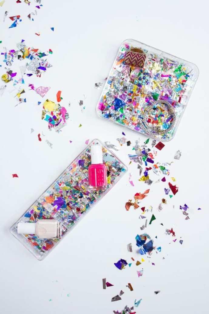 DIY Confetti Makeup Trays