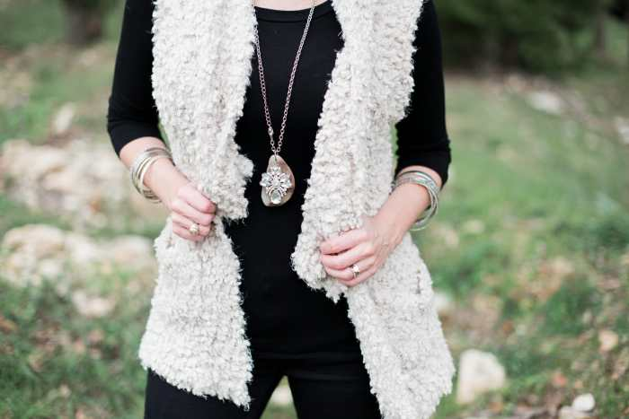 Faux fur vests are great style choices for fall and winter