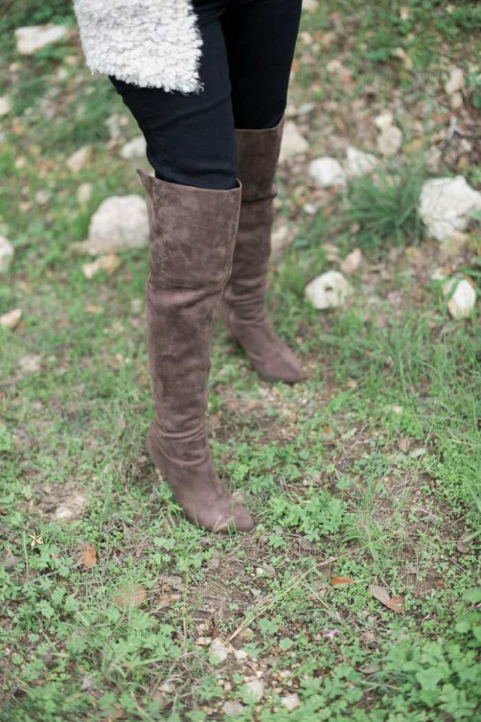 Stylish brown suede boots