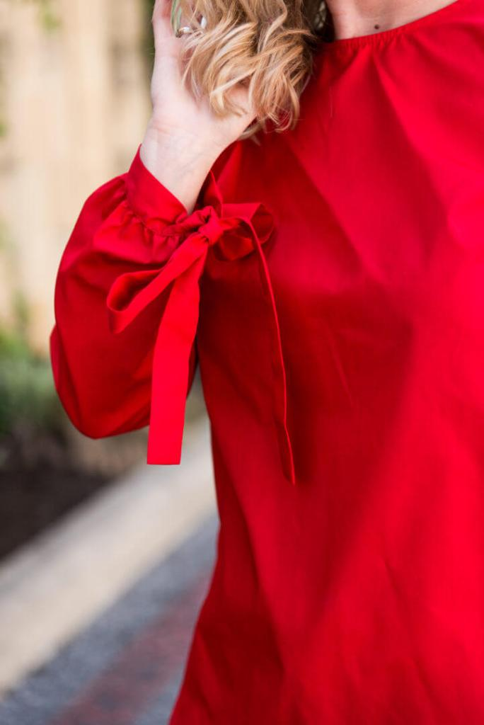 red and white blouse outfit