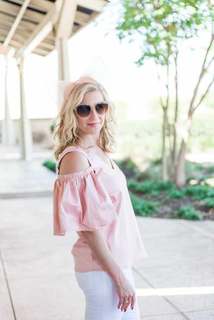 pink open shoulder blouse
