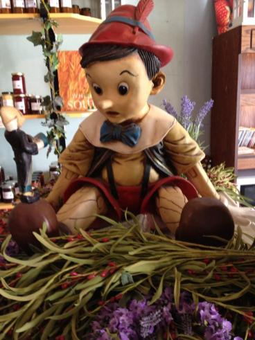 Pinocchio watches over the shop