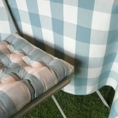Directors Chair Covers Uk Yoga Exercises For Seniors Gingham Seat Pads Teal And White | Large Check Cushions Vichy The ...