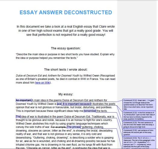 Exam essay answer deconstructed