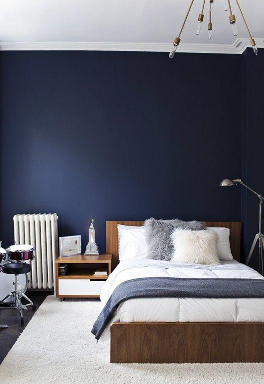 Donkerblauwe slaapkamer  THESTYLEBOX