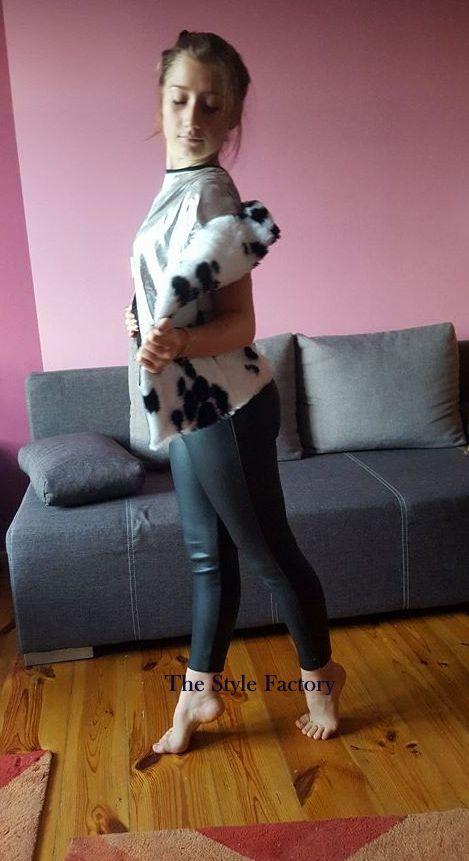Futrzana kamizelka, spodnie i bluzka