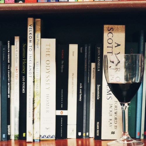 Poetry Book Shelf with glass of red wine - The Style of Laura Jane