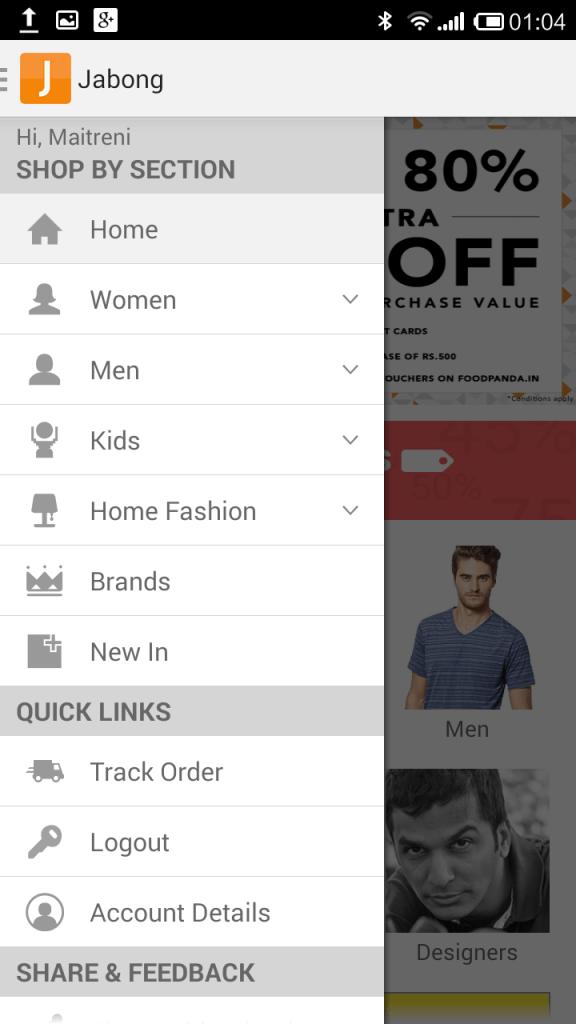 jabong mobile app