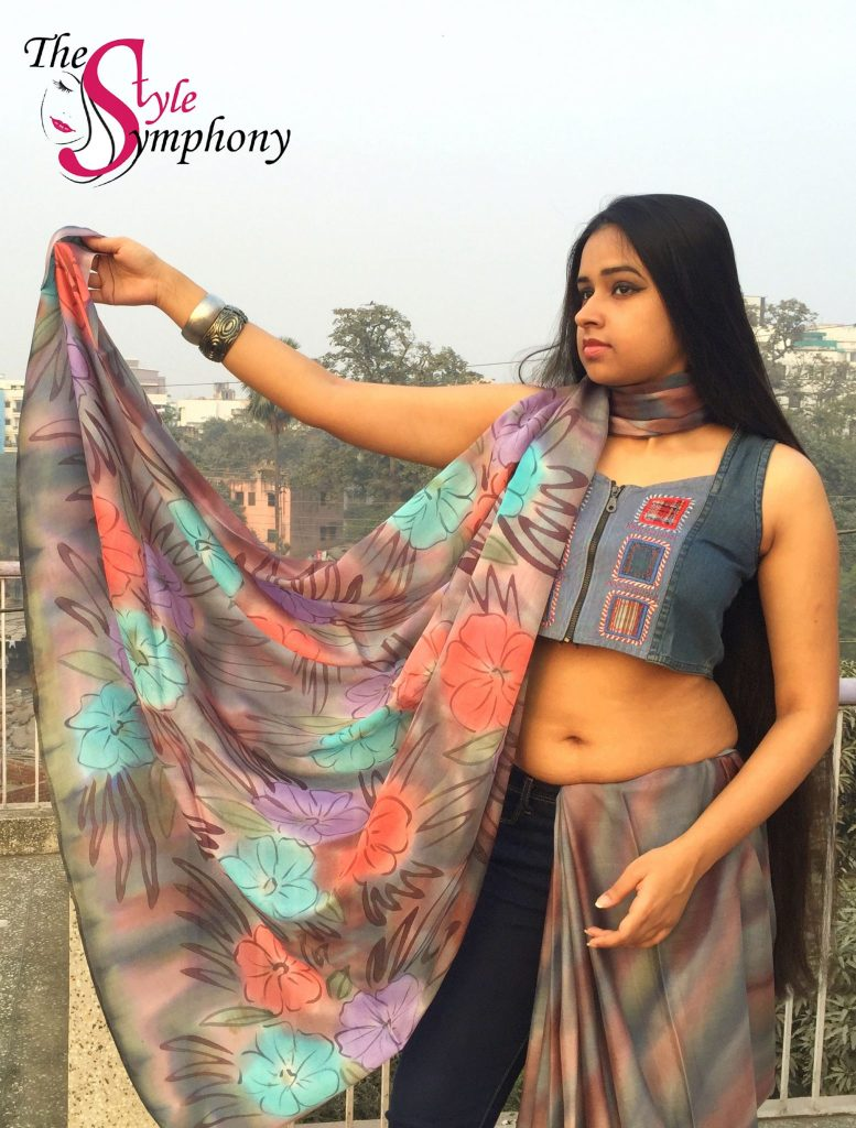 saree denim drape