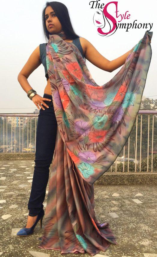 saree denim drape