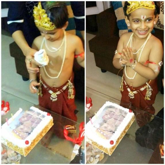 Adwik krishna janmashtami flower n cake