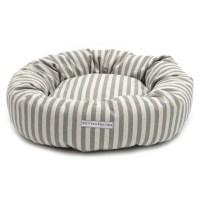 Grey Striped Brushed Cotton Donut Dog Bed   The Stylish ...