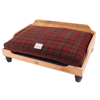 Raised wooden dog beds | Oak raised dog beds and cushion