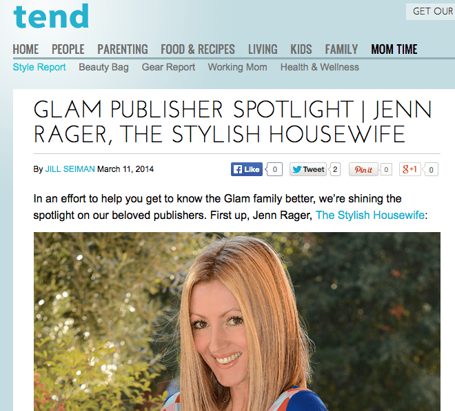 Glam Publisher Spotlight - Jenn Rager, The Stylish Housewife