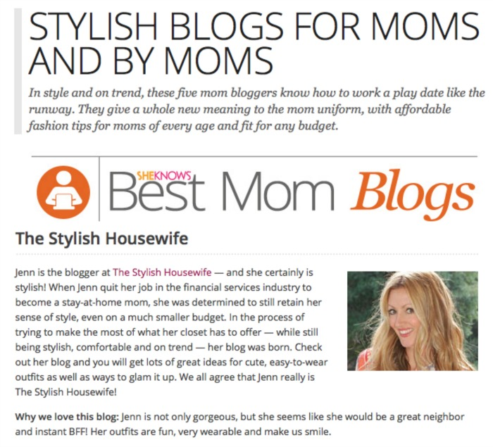 SheKnows Stylish Blogs for Moms by Moms
