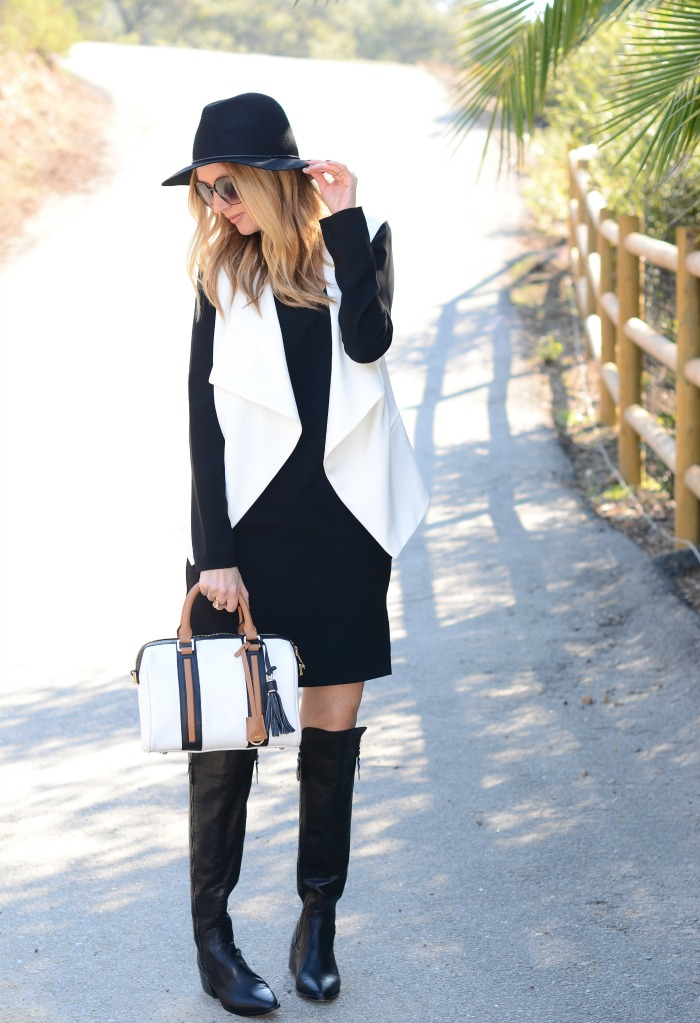 Black Dress, White Vest, OTK Boots