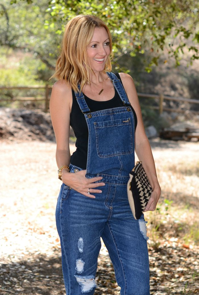 Justfab Distressed Overalls