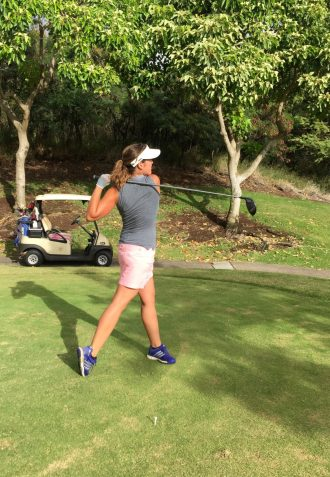 Teeing Off Downhill at Kahili