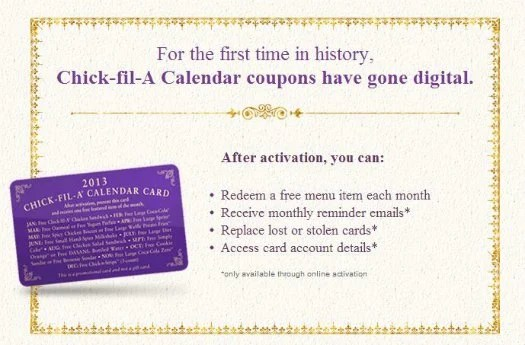 chick-fil-a-calendar-2013 gone digital promotional card