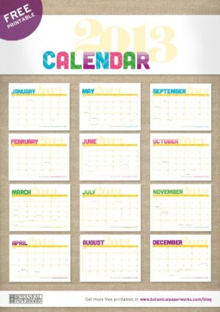 Free 2013 Printable Calendar Botantical Paperworks