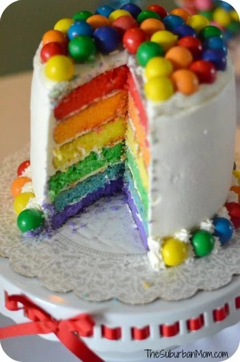 Rainbow Birthday Party Cake Colored Layers