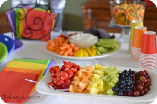 Rainbow Birthday Party Food Tabletop