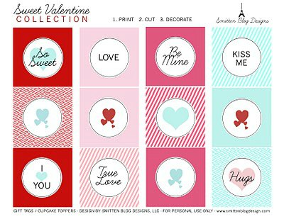 Valentine's Day Free Printable tags cupcake toppers