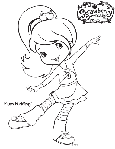 Strawberry Shortcake Plum Pudding Coloring Page