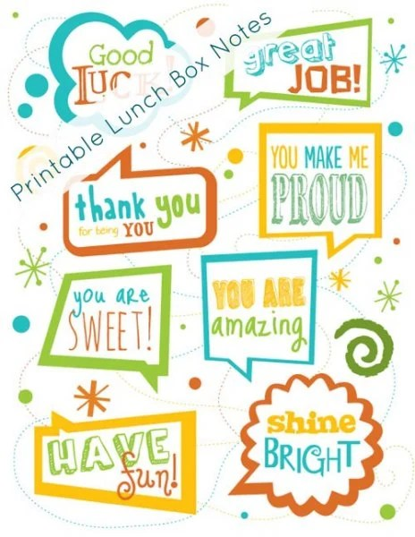Printable lunch box notes - back to school