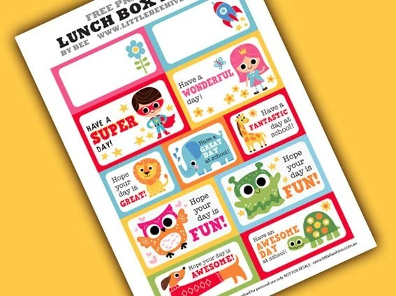 free back to school lunch box notes