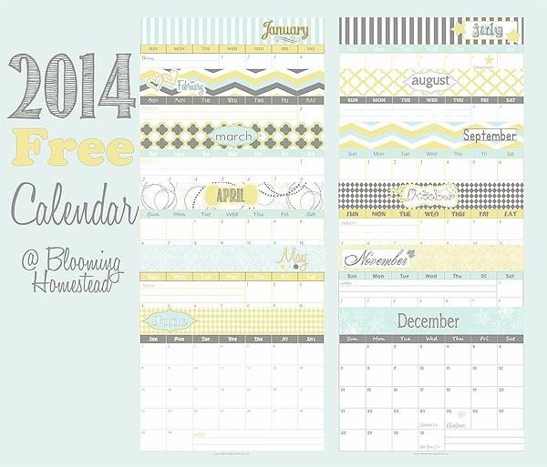 2014 Calendar Free Printable