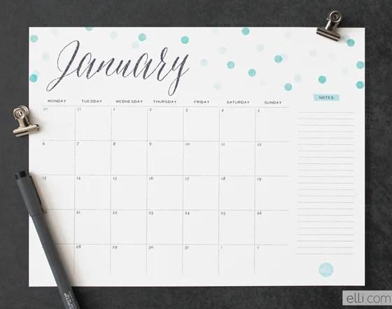 2014 Printable Calendar Dots