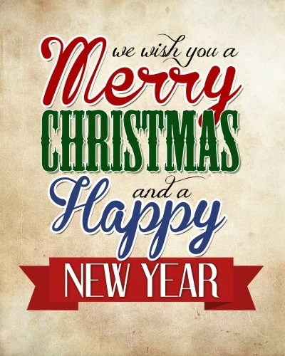 Merry Christmas Happy New Year Free Printable