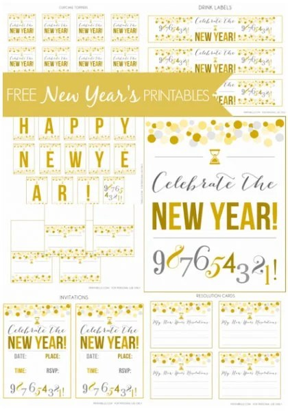 New Year Free Printable Set Sign Banner Labels