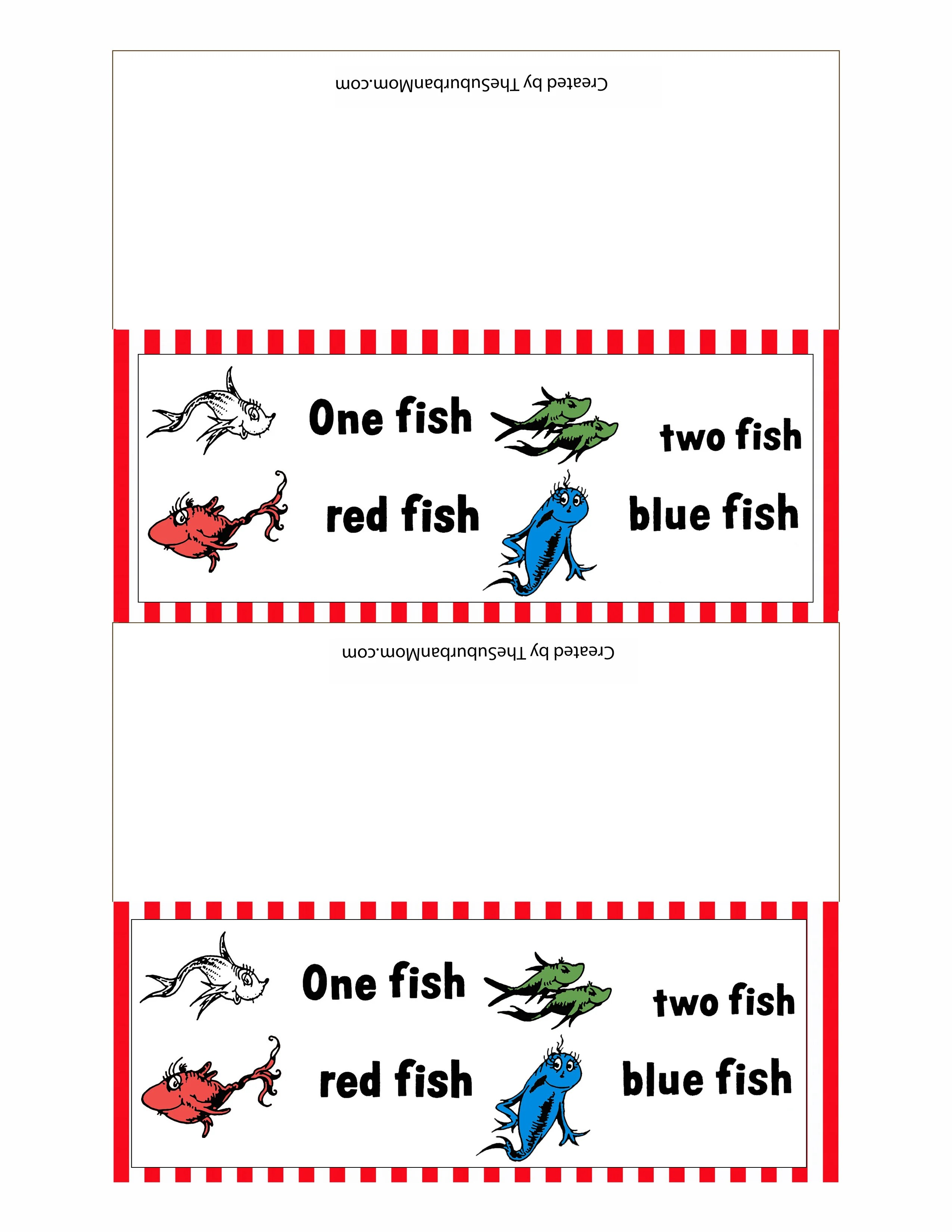 Dr Seuss One Fish Two Fish Red Fish Blue Fish Printables